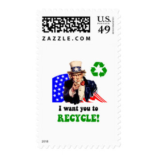 I want you to recycle! stamp