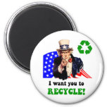I want you to recycle! refrigerator magnets