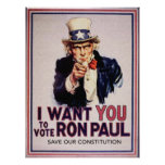 I Wan't You to Vote RON PAUL Save our Constitution Print