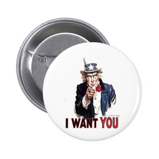 I Want You (Uncle Sam) 2 Inch Round Button