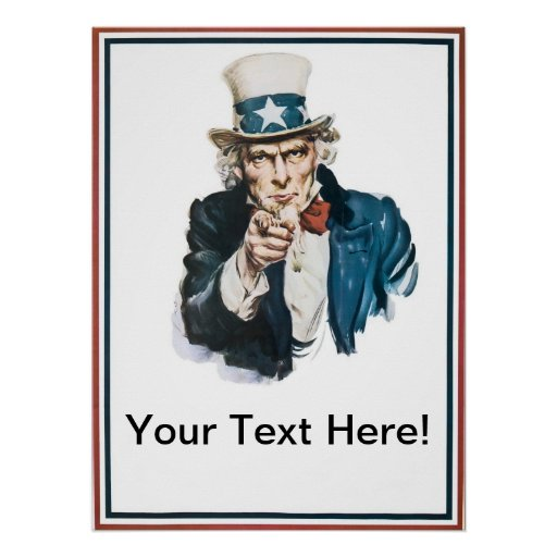 i want you uncle sam add your text customized poster zazzle