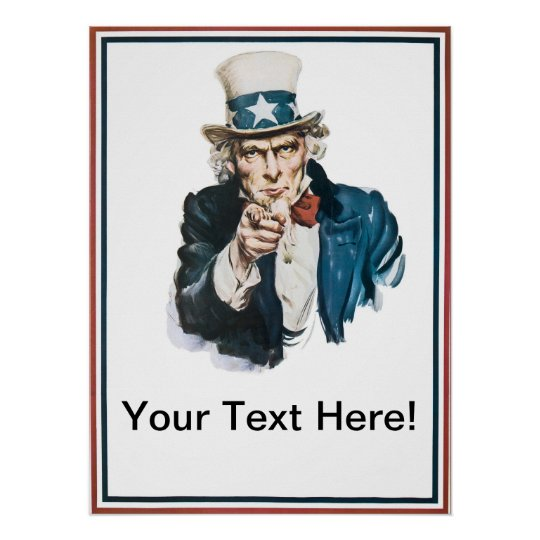 i want you uncle sam add your text customized poster zazzle. Black Bedroom Furniture Sets. Home Design Ideas