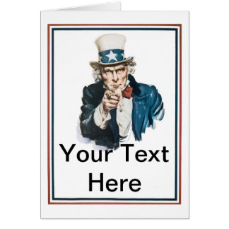I Want You Uncle Sam Customize Your Text Card