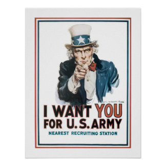 """""""I Want YOU"""" Uncle Sam (white) Poster"""