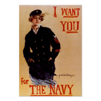 I Want You Vintage Navy Poster
