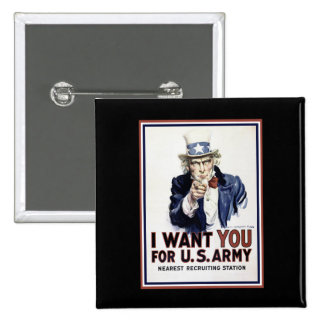 I Want You - WW2 2 Inch Square Button