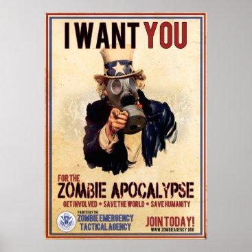 ZombieETA I Want You - Zombie Apocalypse - SUPER VALUE Poster