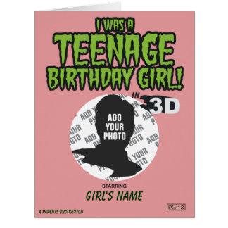 I Was A Teenage Birthday Girl! Large Greeting Card