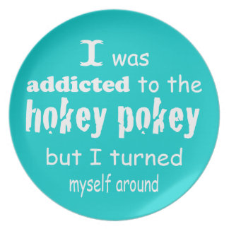 I was Addicted to the Hokey Pokey Typography Quote Melamine Plate