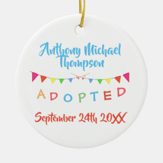 I was Adopted Banners Custom Name-Date Ceramic Ornament