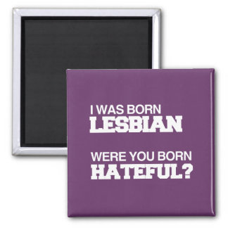 I WAS BORN LESBIAN WERE YOU BORN HATEFUL FRIDGE MAGNETS