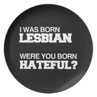 I WAS BORN LESBIAN WERE YOU BORN HATEFUL PLATES