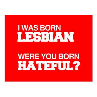 I WAS BORN LESBIAN WERE YOU BORN HATEFUL POST CARDS