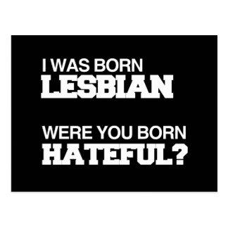 I WAS BORN LESBIAN WERE YOU BORN HATEFUL POSTCARDS