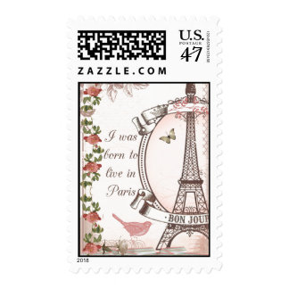 I Was Born to Live in Paris Postage