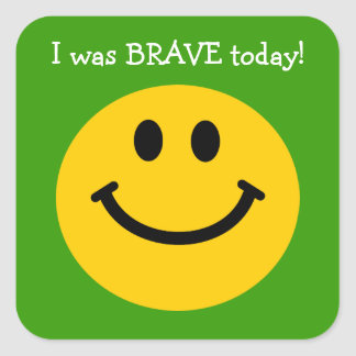 I was brave today yellow smiley face on green square sticker