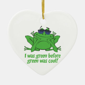 I was Green Double-Sided Heart Ceramic Christmas Ornament