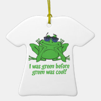 I was Green Double-Sided T-Shirt Ceramic Christmas Ornament