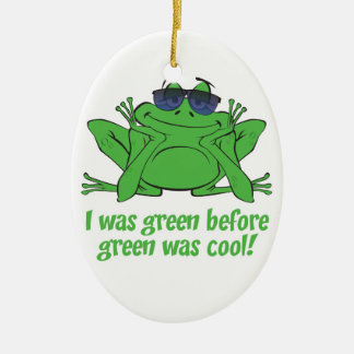 I was Green Double-Sided Oval Ceramic Christmas Ornament