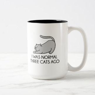 I Was Normal Three Cats Ago Two-Tone Coffee Mug