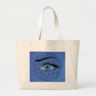I watch All seeing blue eye Large Tote Bag