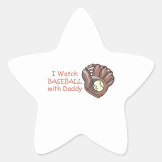 I Watch Baseball With Daddy Star Sticker