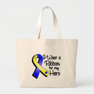 I Wear a Blue and Yellow Ribbon For My Hero Large Tote Bag