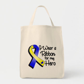I Wear a Blue and Yellow Ribbon For My Hero Tote Bag