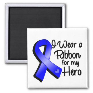 I Wear a Blue Ribbon For My Hero 2 Inch Square Magnet
