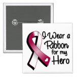 I Wear a Burgundy and White Ribbon For My Hero 2 Inch Square Button