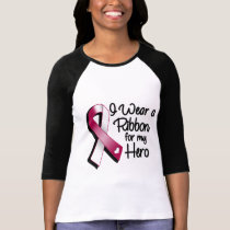 I Wear a Burgundy and White Ribbon For My Hero T-Shirt