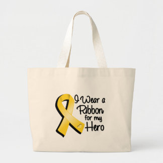 I Wear a Gold Ribbon For My Hero Large Tote Bag