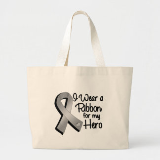 I Wear a Gray Ribbon For My Hero Large Tote Bag