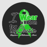 I Wear a Green Ribbon For My Cousin Classic Round Sticker
