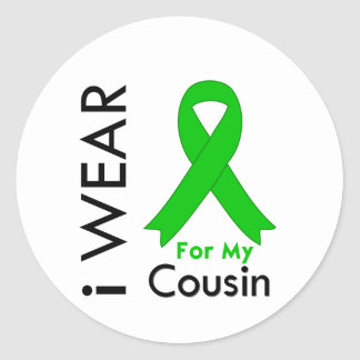 I Wear a Green Ribbon For My Cousin Round Stickers