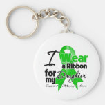 I Wear a Green Ribbon For My Daughter Basic Round Button Keychain
