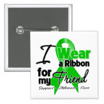 I Wear a Green Ribbon For My Friend 2 Inch Square Button