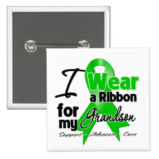 I Wear a Green Ribbon For My Grandson 2 Inch Square Button