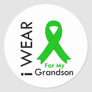 I Wear a Green Ribbon For My Grandson Round Stickers