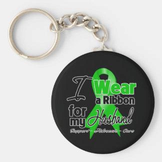 I Wear a Green Ribbon For My Husband Keychain