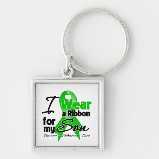 I Wear a Green Ribbon For My Son Keychains