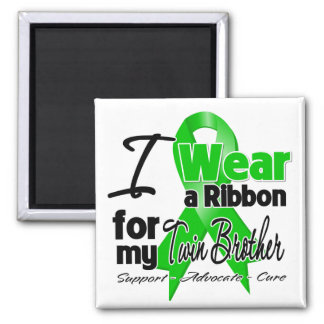 I Wear a Green Ribbon For My Twin Brother 2 Inch Square Magnet