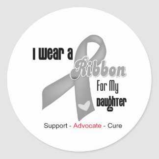 I Wear a Grey Ribbon For My Daughter Classic Round Sticker