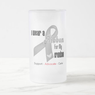 I Wear a Grey Ribbon For My Grandson 16 Oz Frosted Glass Beer Mug