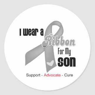 I Wear a Grey Ribbon For My Son Classic Round Sticker