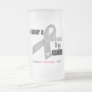 I Wear a Grey Ribbon To Win 16 Oz Frosted Glass Beer Mug