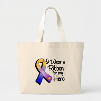 I Wear a Marigold Purple and Gold Ribbon Large Tote Bag