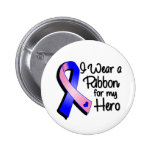 I Wear a Pink and Blue Ribbon For My Hero Button