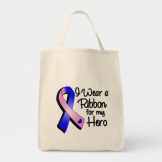 I Wear a Pink and Blue Ribbon For My Hero Grocery Tote Bag