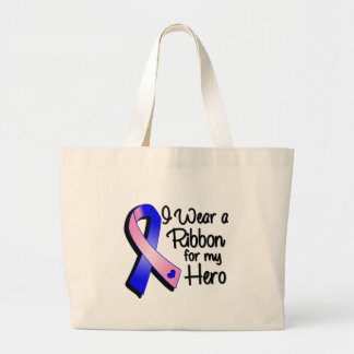 I Wear a Pink and Blue Ribbon For My Hero Jumbo Tote Bag